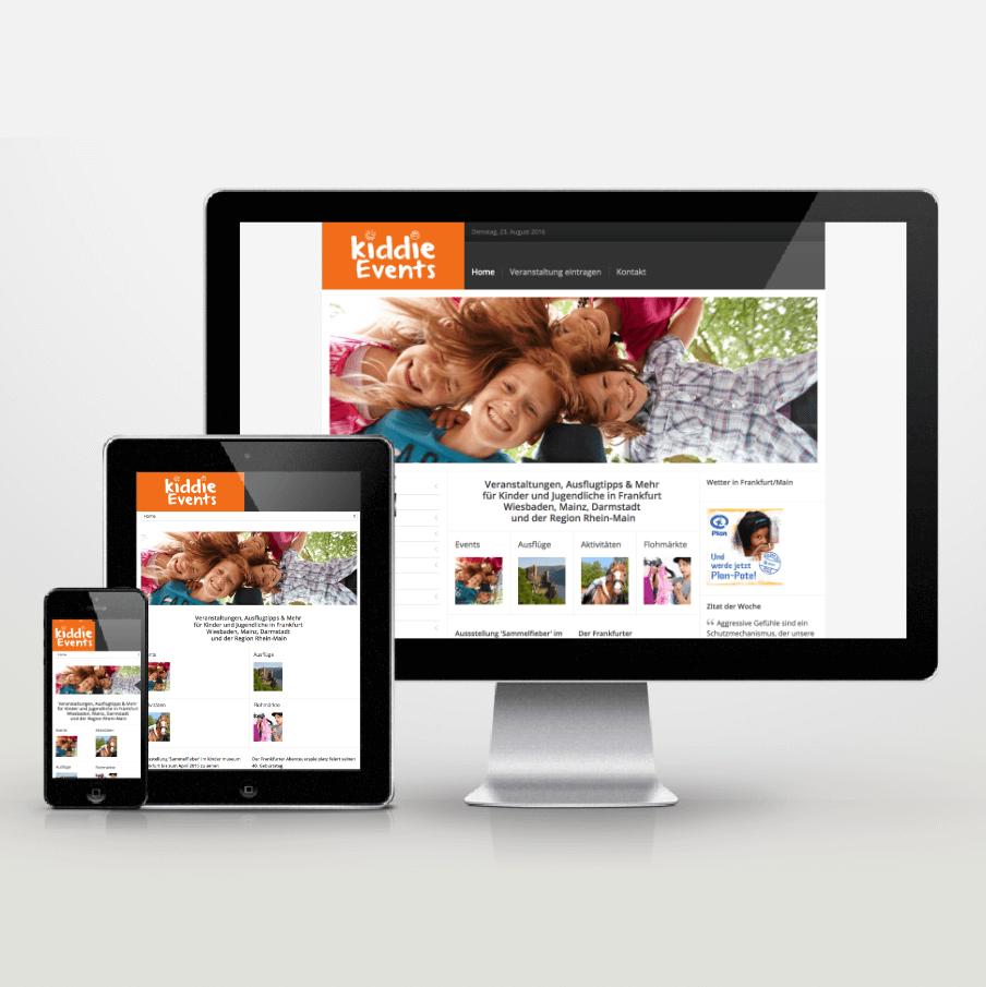 Website-Entwicklung im Responsive Design für Kiddie Events - inspiras webagentur